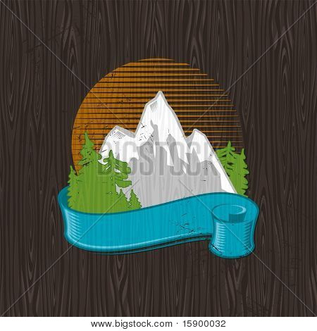 Vector illustration - color landmarks emblem painting on a black wood board
