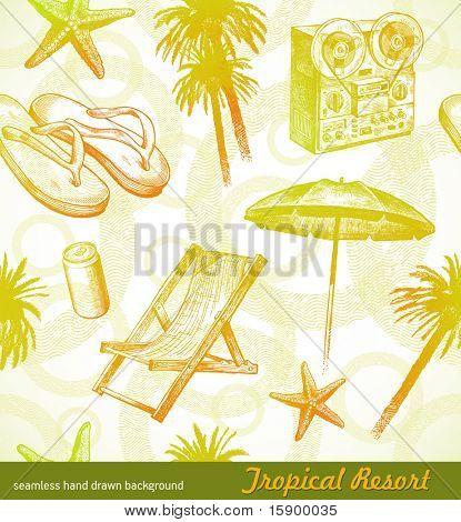 Tropical beach resort - vector seamless hand drawn background