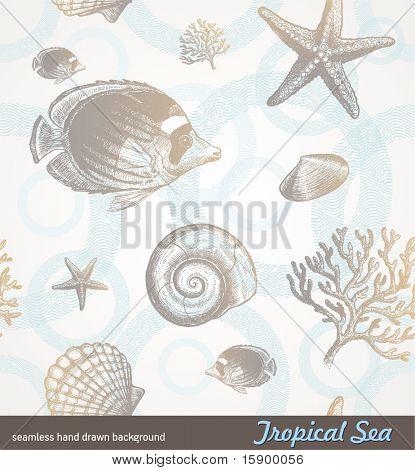 Vektor seamless hand gezeichnete Hintergrund - Unterwasser tropische fauna