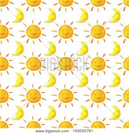 Weather watercolor pattern. Funny happy smiling suns and moons. Bright beautiful cartoon pattern. Handpainted watercolor illustration. Isolated on white background
