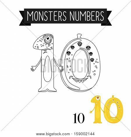 Coloring page monsters numbers for kids. Number 10 vector illustration