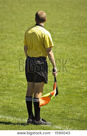 Soccer Linesman With Flag