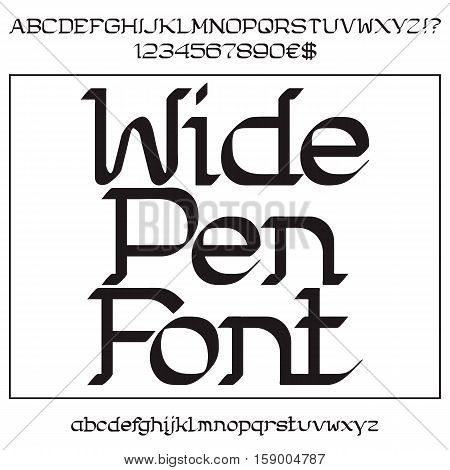 Black uppercase and lowercase letters and numbers. Wide pen font. Isolated english alphabet with figures.