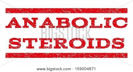 Anabolic Steroids watermark stamp. Text tag between horizontal parallel lines with grunge design style. Rubber seal stamp with dirty texture. Vector red color ink imprint on a white background.