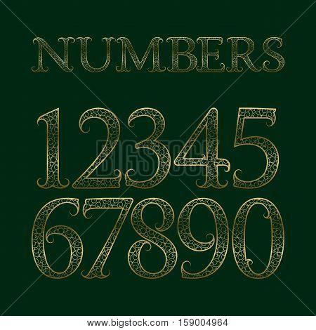 Golden ornate numbers with tendrils. Decorative patterned vintage font.