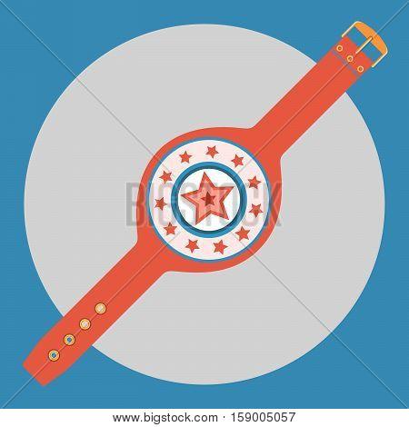 Championship belt icon. Color championship belt on a blue background. Sports Equipment. Vector Illustration