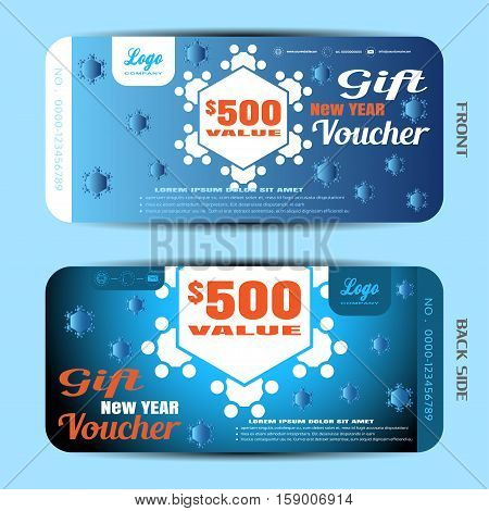 Vector new year gift voucher on the blue gradient background with snowflakes.