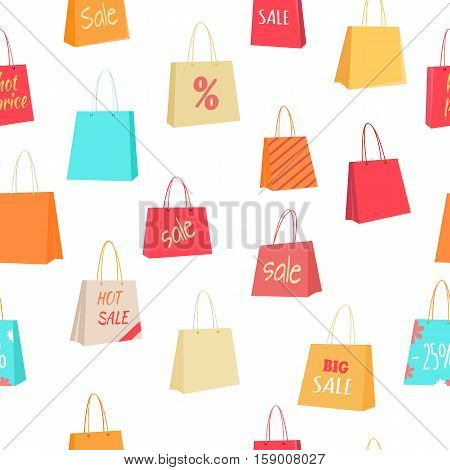 Big sale and discounts seamless pattern. Colorful paper shopping bags with text on white background flat vector illustration. For goods wrapping paper, labels, advertising printing materials design
