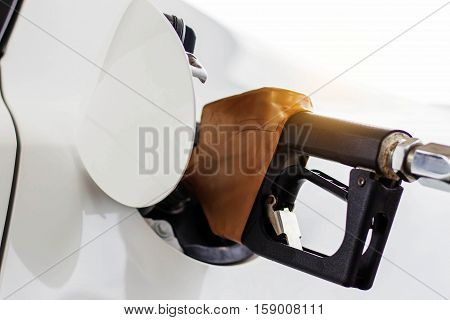 Fuel nozzle is fueling a white car.