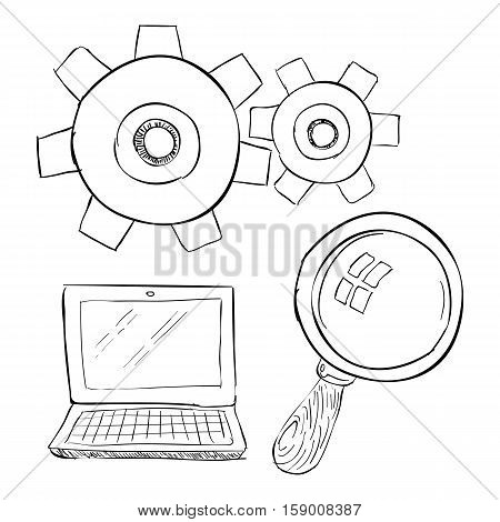 Laptop with magnifier icon. Hand drawn illustration of laptop with magnifier vector icon for web