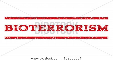 Bioterrorism watermark stamp. Text caption between horizontal parallel lines with grunge design style. Rubber seal stamp with dirty texture. Vector red color ink imprint on a white background.