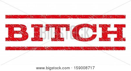 Bitch watermark stamp. Text caption between horizontal parallel lines with grunge design style. Rubber seal stamp with unclean texture. Vector red color ink imprint on a white background.