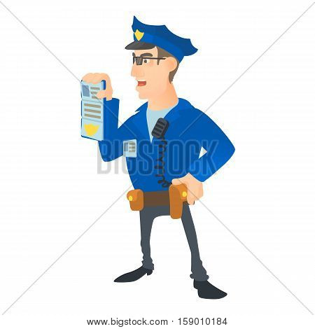 Policeman with order icon. Cartoon illustration of policeman with order vector icon for web