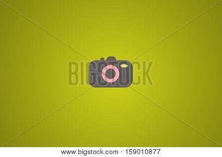 Illustration of photocamera on green background. Minimalist style background