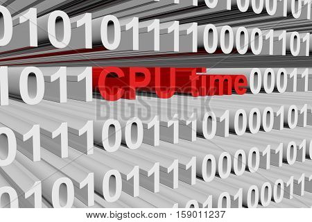 CPU time in the form of binary code, 3D illustration