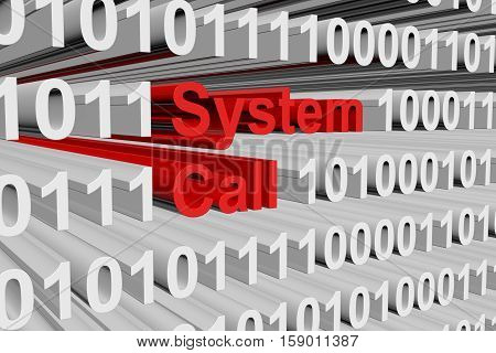 system call in the form of binary code, 3D illustration