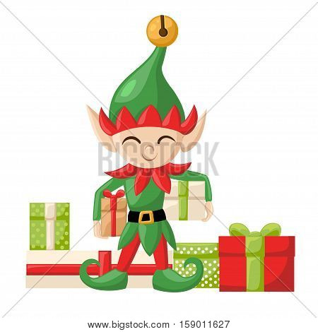 Elf Santa Claus Santa S Elves Preparing For Christmas. Merry Christmas Candy Gifts New Year