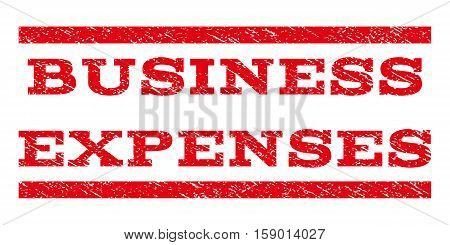 Business Expenses watermark stamp. Text caption between horizontal parallel lines with grunge design style. Rubber seal stamp with unclean texture. Vector red color ink imprint on a white background.