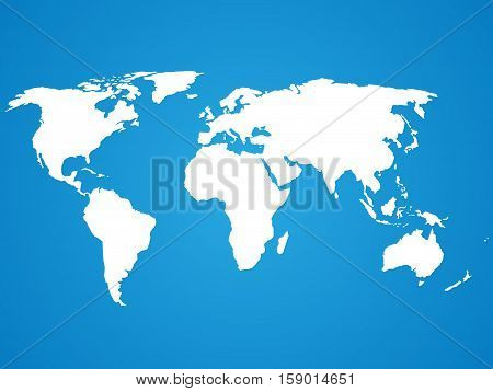 Simplified white world map silhouette on blue circular gradient background. Vector illustration.