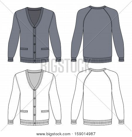 Blank long sleeve grey raglan cardigan outlined template (front & back view) vector illustration isolated on white background