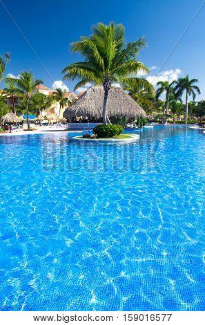 Beautiful swimming pool in caribbean