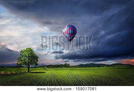 Parachoute, tree at meadow, landscape, clouds, nature