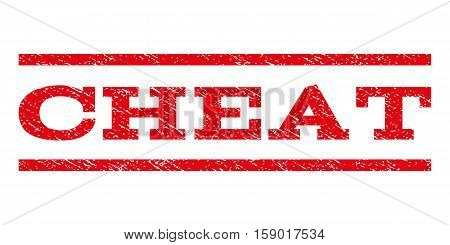 Cheat watermark stamp. Text caption between horizontal parallel lines with grunge design style. Rubber seal stamp with dust texture. Vector red color ink imprint on a white background.