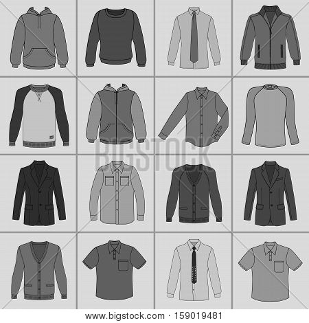 Men's clothing outlined template set front view (jacket shirt cardigan sweatshirt sports pullover hoodie) vector illustration isolated on grey background