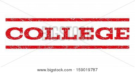 College watermark stamp. Text caption between horizontal parallel lines with grunge design style. Rubber seal stamp with scratched texture. Vector red color ink imprint on a white background.