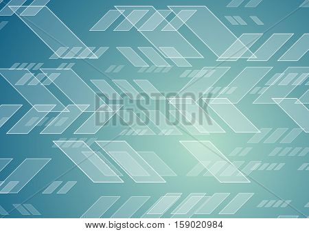 Abstract blue tech geometric background. Bright vector graphic design