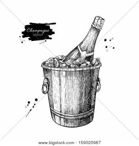 Champagne bottle in ice bucket. Hand drawn isolated illustration. Alcohol drink in engraved style. Vintage sketch. Beverage drawing for bar and restaurant menu, poster, banner. Celebration concept