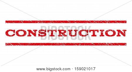 Construction watermark stamp. Text tag between horizontal parallel lines with grunge design style. Rubber seal stamp with scratched texture. Vector red color ink imprint on a white background.
