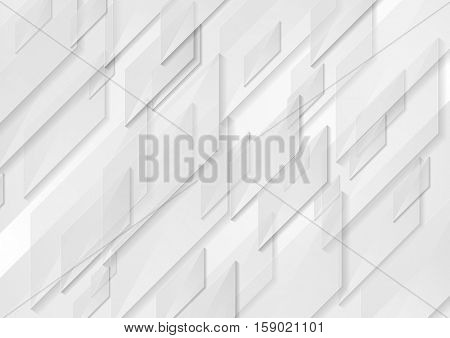 White and grey tech motion shapes graphic design. Abstract geometric vector background