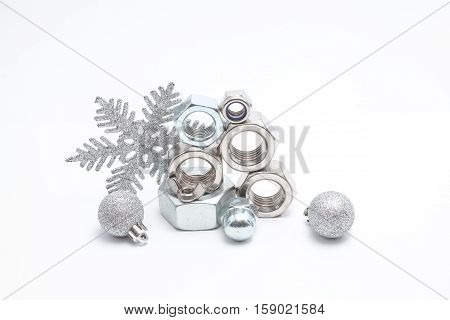 several iron bolts from M30 to M3 from big to small and christmas balls
