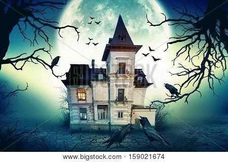 Haunted House with Dark Horror Atmosphere. Haunted Scene House.