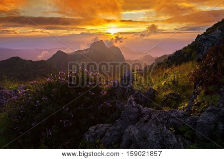 Beautiful sunset in the mountains at Doi Luang Chiang Dao Chiang Mai Thailand
