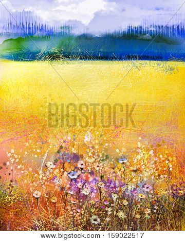 Abstract watercolor painting purple cosmos flower, violet cornflower, white and orange wildflower. Wild flowers meadow, green field paintings. Hand paint floral in meadows. Spring flowers landscape background