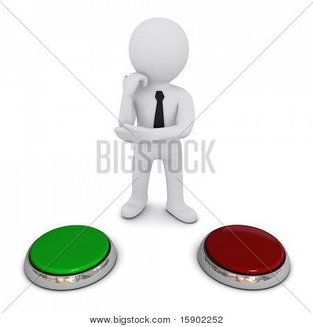 pequeno homem tridimensional escolhe qual botão para imprensa, verde ou vermelho