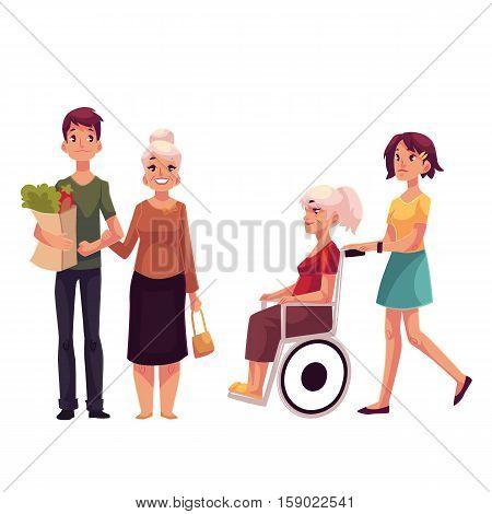 Helping grandmother with shopping and strolling her in wheelchair, cartoon vector illustration isolated on white background. Grandchildren carrying shopping bags ands strolling wheelchair for grandma