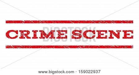 Crime Scene watermark stamp. Text caption between horizontal parallel lines with grunge design style. Rubber seal stamp with unclean texture. Vector red color ink imprint on a white background.