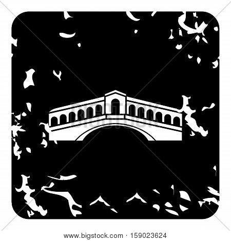 Rialto Bridge, Venice icon. Grunge illustration of Rialto Bridge, Venice vector icon for web