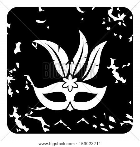 Carnival mask icon. Grunge illustration of carnival mask vector icon for web