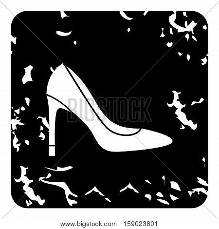 High heel shoe icon. Grunge illustration of high heel shoe vector icon for web