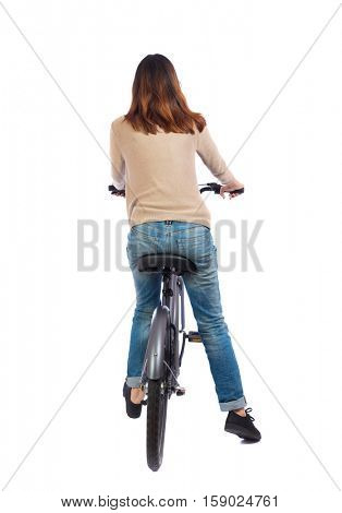 back view of a woman with a bicycle. cyclist sits on the bike. Rear view people collection.  backside view of person. Isolated over white background. The brunette leaned on the side exposed to foot.