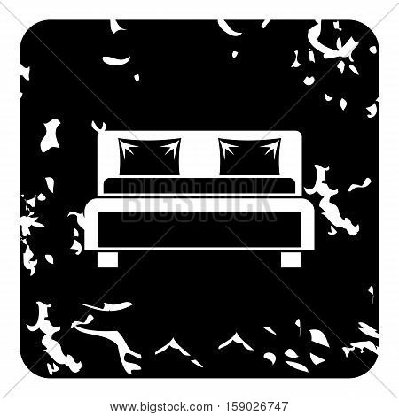 Double bed icon. Grunge illustration of double bed vector icon for web