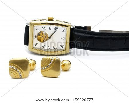 cufflinks and watch isolated on white background