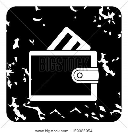 Wallet with credit card icon. Grunge illustration of wallet with credit card vector icon for web