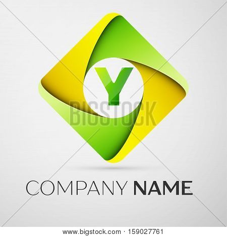 Letter Y vector logo symbol in the colorful rhombus. Vector template for your design