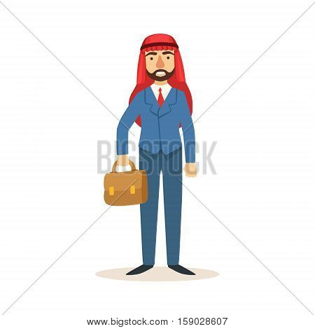 Arabic Muslim Businessman Dressed In Expensive Suit And Wearing Headdress Kufiya Working In Financial Business Sphere With Suitcase. Cartoon Arab Rich Sheikh Character In Islamic Outfit Flat Vector Illustration.