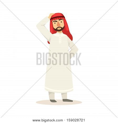 Arabic Muslim Businessman Dressed In Traditional Thwab Clothes And Wearing Headdress Kufiya Working In Financial Business Sphere Thinking. Cartoon Arab Rich Sheikh Character In Islamic Outfit Flat Vector Illustration.